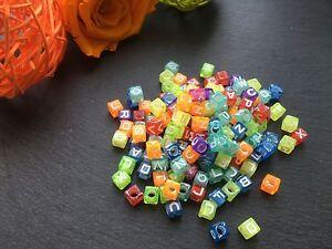 100-Buchstaben-Acryl-Wuerfel-Perlen-bunt-Buchstabenperlen-7mm-Basteln