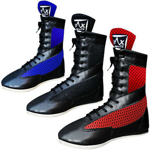Long Anklet Leather Boxing Boots Shoes Rubber Sole Boots Junior /& Adults