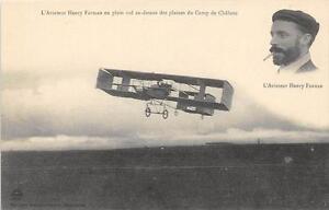 CPA-AVIATION-L-039-AVIATEUR-HENRY-FARMAN-EN-PLEIN-VOL-AU-DESSUS-DES-PLAINES-DE-CHALO