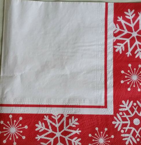 Decoupage /& Crafting 4 X Paper des nappes Red /& White Snow Flakes for table