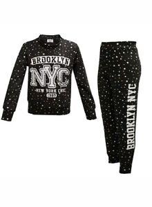 Girls Lounge Suit Kids Brooklyn 85 Print Loungewear Tracksuit Top Bottom 7-13 Yr