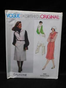 Vintage-Vogue-1622-Size-14-Galitzine-Designer-Original-Jumper-Blouse-Pants-Scarf