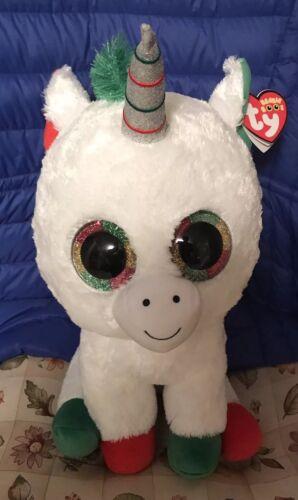 "NEW JUMBO Ty Beanie Boo/'s CANDY CANE CHRISTMAS UNICORN 17/"" HOT HOLIDAY TOY"