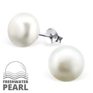 925-Sterling-Silver-White-Freshwater-Pearl-Stud-Earrings-10mm