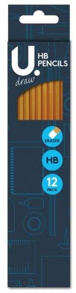 HB Pencils Eraser Tip Children Home Office School 12 Pack(2414)
