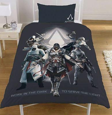 Single Bed Assassin/'s Creed LEGACY Reversible Duvet Cover Set Panel Grey Black