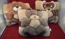 Set of 3 Pillows Plush Toys Lion Tiger Bear Child baby Soft Pillows Boys Girls