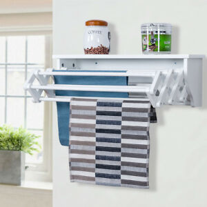 Wood Wall Mounted Towel Hanging Laundry Rack Folding Scalable