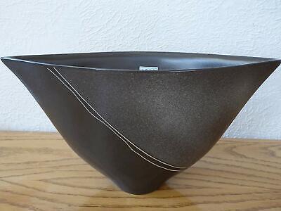 """Made in Japan Japanese Ikebana Bonsai Vase 17.5/""""L Black Ceramic OHMIYA DAI-619"""