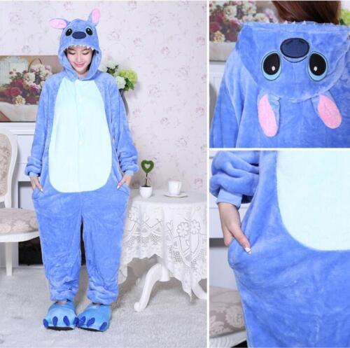 Blue stich Unisex Adult Pajamas Kigurumi Cosplay Costume Animal Sleepwear2019
