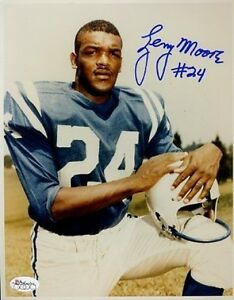 LENNY-MOORE-COLTS-SIGNED-JSA-CERT-STICKER-8x10-PHOTO-AUTHENTIC-AUTOGRAPH