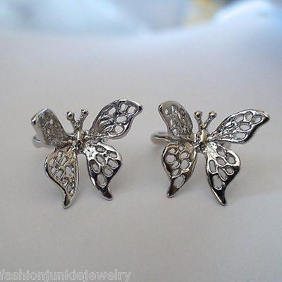 Butterfly Ear Cuff Earrings - 925 Sterling Silver - 1 Pair - No Piercing *NEW*