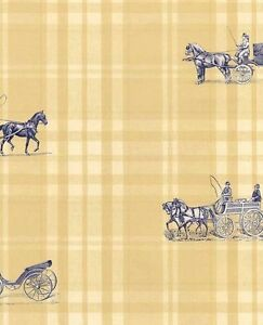 Wallpaper-Designer-English-Style-Blue-Horse-Carriage-On-Yellow-Traditional-Plaid