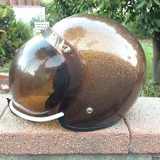 METALFLAKE Copper NJL Motocross Gold Shield Moto Motorcycle Helmet Vintage1973