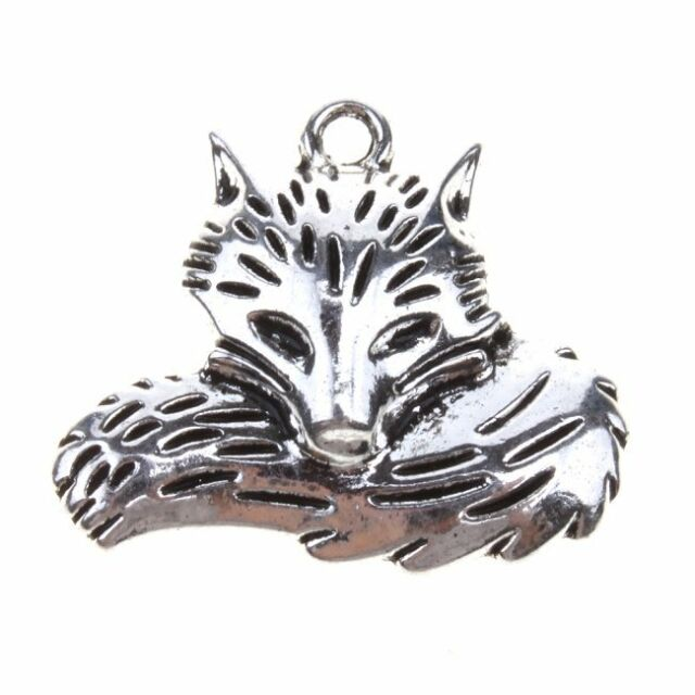 15x Retro Silver Fox Design Charms Zink Alloy Pendants Findings Make Jewelry BS