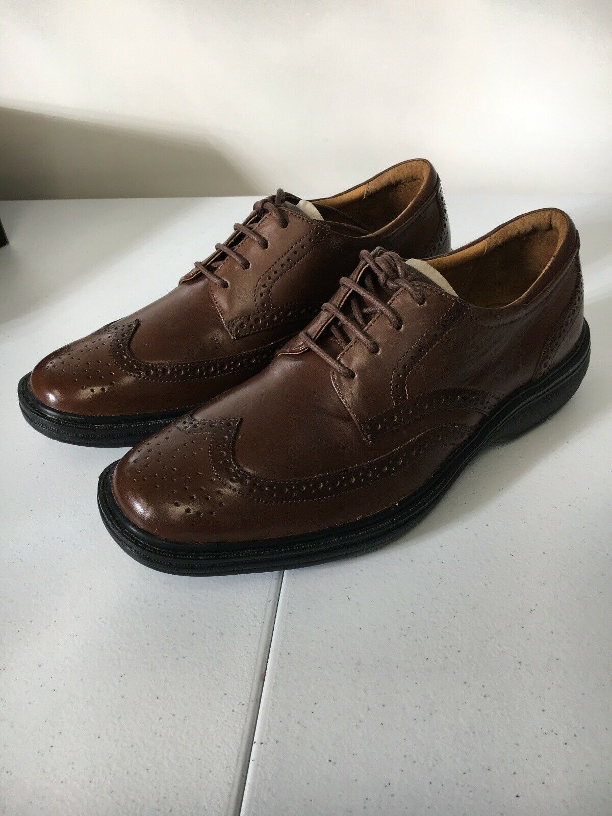 Dr Comfort shoes 6.5 M Mens Chestnut Brown Wing Tip Diabetic Wide 8320 Leather