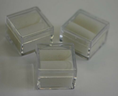 "6pcs Acrylic Square Gem Jars Box Gemstones White Foam 1/"" x 1/"" Storage Display"