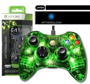 PDP-Afterglow-Wired-Controller-fuer-Microsoft-Xbox-360-gruene-Beleuchtung-Neu-Ovp