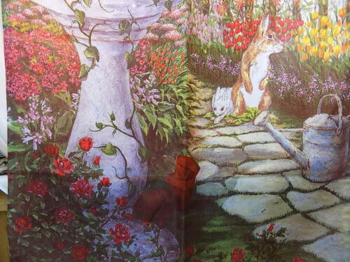"Details about  /GARDEN YARD FLAG BANNER Tulips Bird Bath Rabit Motif 40 x 13.5/"""