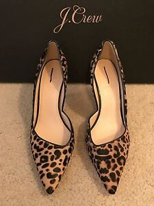 5a33933016b4 J.CREW COLETTE D ORSAY PUMPS IN LEOPARD CALF HAIR SIZE 6M WALNUT ...
