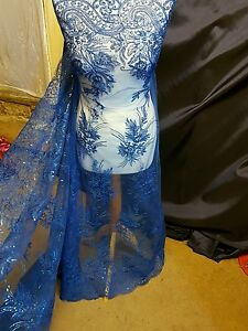 "1M new royalblue BRIDAL  SCALLOPED LACE EMBRIOUDED SEQUIN FABRIC 58"" WIDE"