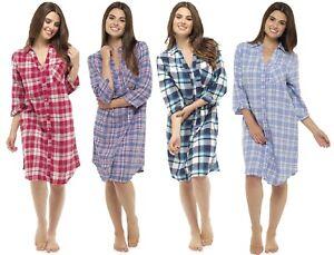 Donna TINTO FILO controllato Stile Tradizionale Camicia/Camicia da notte ~ UK 8-18