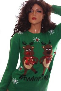 Womens Twinning Twins Reindeer Ugly Christmas Sweater Party Lg Plus