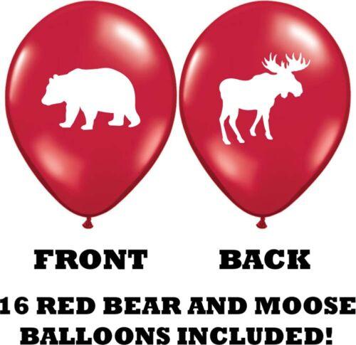 "Moose /& Bear Party Balloons 12/"" Latex Balloons for Lumberjack Parties! 32"