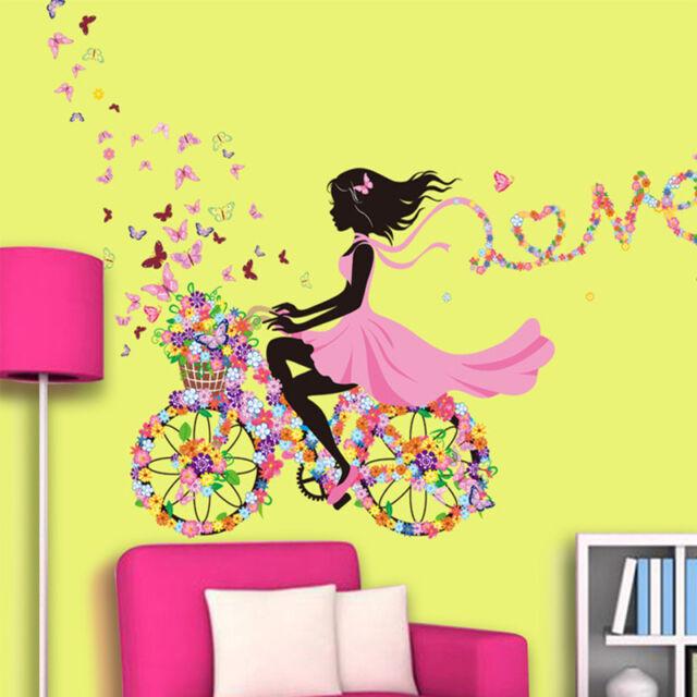 DIY Girl & Flower Removable Wall Art Sticker Vinyl Decal Room Home Mural Decor