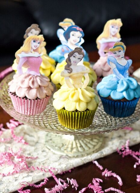 "12 X Disney Princesses Body Tops THICK WAFER Stand Up Cake Toppers ""PRE CUT"""