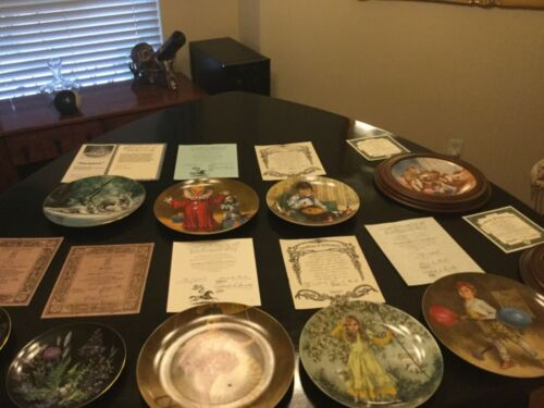 11 various plates, all with certificates