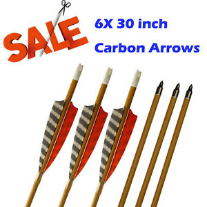 6X-30-034-Target-Carbon-Arrows-SP600-Feather-Fletching-for-Recurve-amp-Compound-Bow