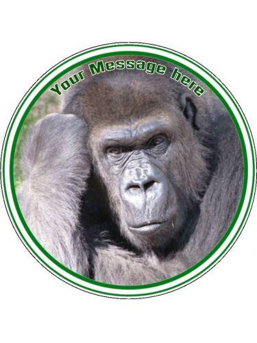 """Gruñón Gorilla 7.5/"""" Redondo Personalizado Comestible Glaseado Cumpleaños Pastel Topper"""