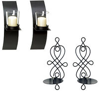 Modern Art Candle Holder Wall Sconce Display Black Wire Metal Plaque Set Pair