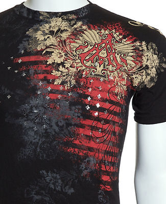 Archaic AFFLICTION Mens T-Shirt WALLPAPER Biker UFC American Fighter M-4XL $40