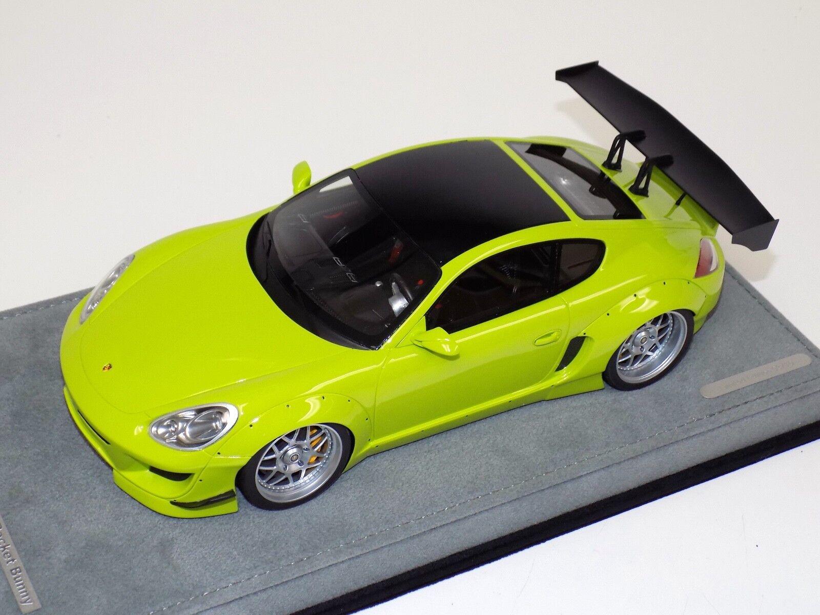 1 18 AB Models Porsche Cayman Rocket Bunny Green on Alcantara Base B