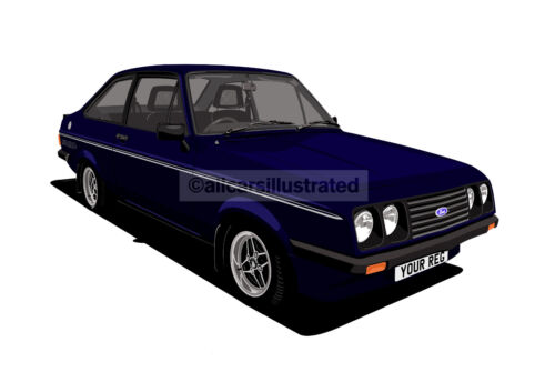 PERSONALISE IT! SIZE A3 FORD ESCORT RS2000 GRAPHIC CAR ART PRINT PICTURE