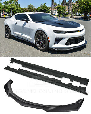 ABS Plastic - Primer Black Extreme Online Store Replacement For 2016-2018 Chevrolet Camaro SS Models ZL1 1LE Style Front Bumper Lower Lip Splitter