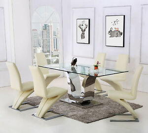 Image Is Loading Designer Gl Dining Table And Leather Chairs Dinner