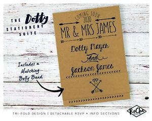 personalised wedding invitations tri fold kraft day evening rsvp set