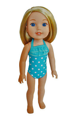 """New Cyan Blue Swimsuit Fits 14.5/"""" Slim Doll Such as AG Wellie Wishers /& H4H"""