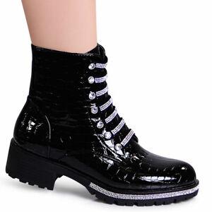 Senora-charol-Biker-worker-Boots-brillo-plataforma-botines-optica-Snake