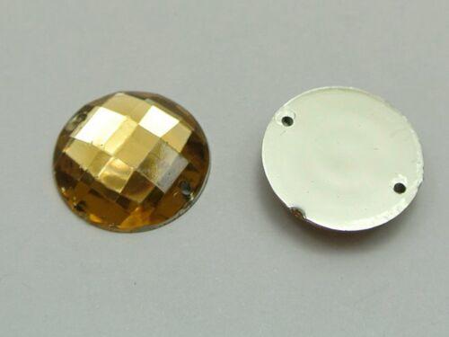 50 Champagne Acrylic Flatback Sewing Rhinestone Round Button 20mm Sew on beads
