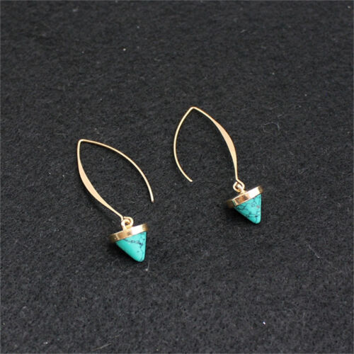Fashion Women Inlay Gold Plated Turquoise Natural Stone Earrings*Hoop Dangle