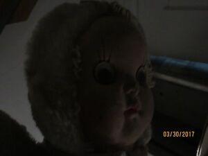 Vtg Creepy Spooky Doll With Hypnotic Eyes Age 1950's/60's!See right eye -spirit