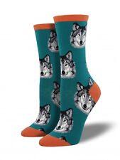Socksmith Womens Wolf Teal crew  socks 1 pair size 9-11 NWT animal wildlife