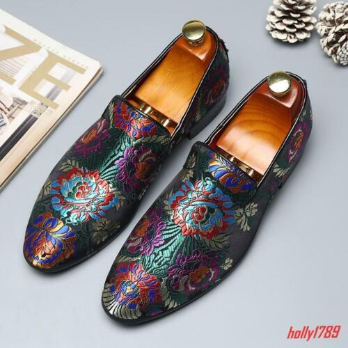 # Mens Slip On Loafers Casual Floral Embroidery Wedding Party Shoes Oxfords