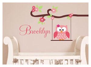 Cute Owl Wall Sticker Custom Name Childrens Nursery Great For Girls ...