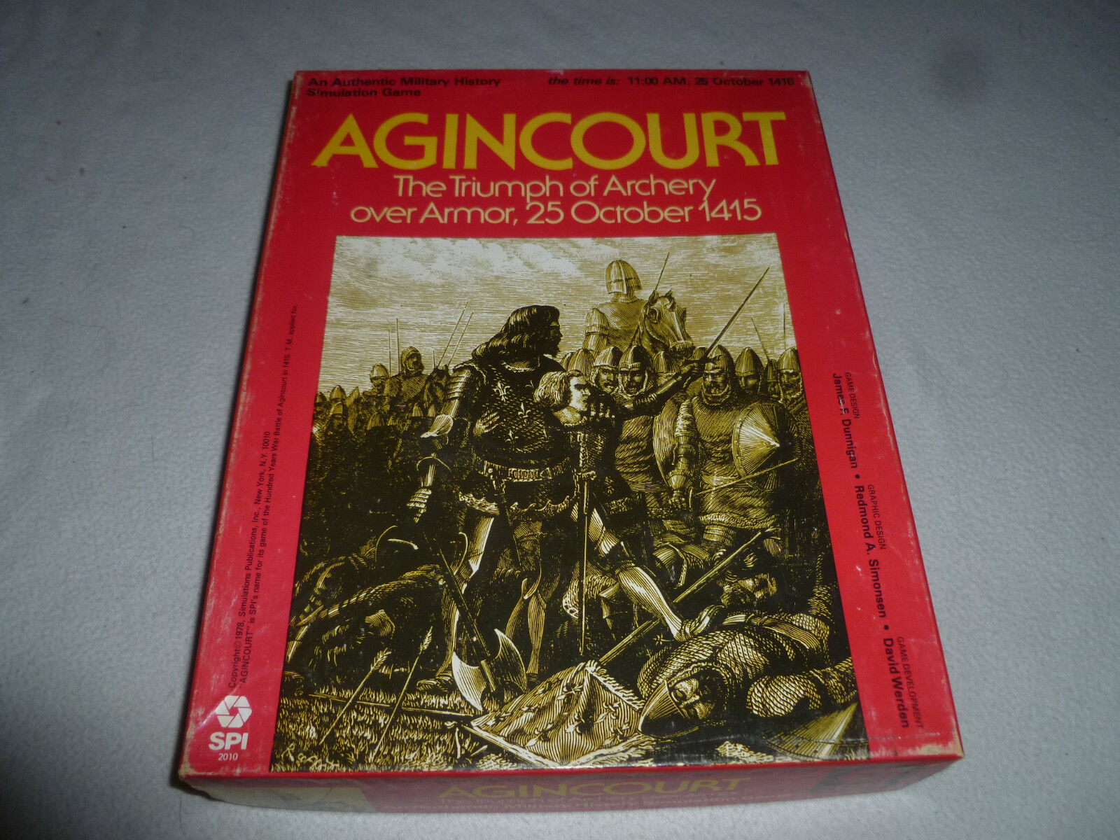 VINTAGE BOXED 1978 AGINCOURT THE TRIUMPH OF ARCHERY OVER ARMOR SPI GAME 2010