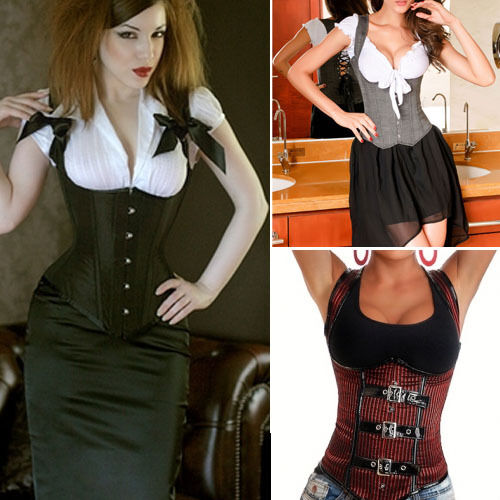Sexy Steampunk Costume Lace-Up Bustier Bodice Underbust Corset Vest Top New USA